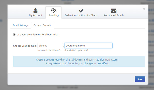 Albumdraft let's you use your own custom domain.